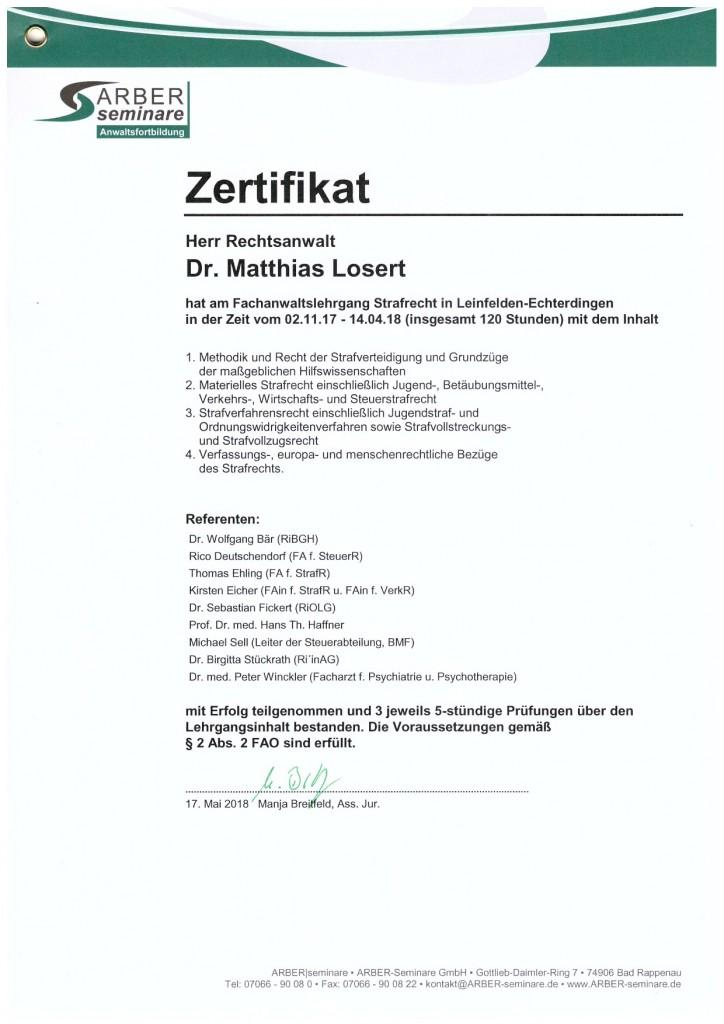 Strafverteidiger Dr. Losert